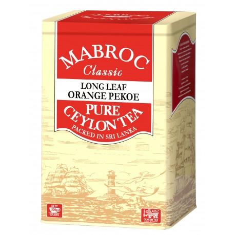 Purer, schwarzer loser Tee Orange Pekoe. Verpackt in einer Metalldose.